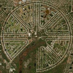 "dailyoverview: "" Rotonda West is an unincorporated community in Florida, USA that is shaped like an incomplete wagon wheel. A freshwater canal system surrounds the outside of the wheel and travels inside each of the pie-shaped wedges to form the..."