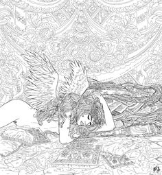 Distinctly Female... by *regina35nocis on deviantART Angel Fantasy Myth Mythical Legend Wings Warrior Valkyrie Anjos Goth Gothic Coloring pages colouring adult detailed advanced printable Kleuren voor volwassenen coloriage pour adulte anti-stress kleurplaat voor volwassenen