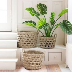 Kalalou Set Of 2 Woven Rush And Iron Baskets In 2019