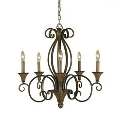 Hampton Bay, Chester Ceiling Aruba Teak Chandelier, at The Home Depot - Mobile Barn Lighting, Dining Room Lighting, Chandelier Lighting, Chandeliers, Bronze Chandelier, Lighting Ideas, Fixer Upper Paint Colors, Paint Colors For Home, Magnolia Homes Paint