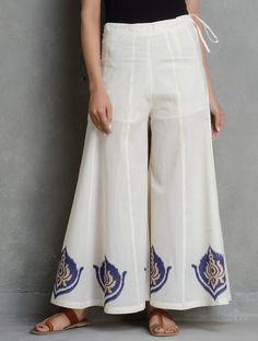 Buy Ivory Golden vy Navy Khari Block Printed Tie Up Waist Cotton Flare Palazzos by Ruh Apparel Pants & Skirts Relaxed Glamor Katan Silk Kurtas More with Pintucks Online at Jaypore.com