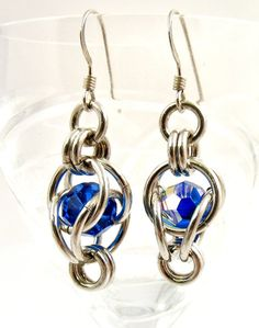 Blue Chainmaille Earrings Crystal Chainmaille by SweetFreedom, $32.50