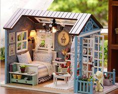 houten poppenhuis miniaturen 1:12 - meubilair kit set pop huis met led verlichting