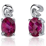 Gleaming Ruby Earrings, Sterling Silver