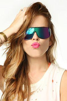 'Tronic' Oversized Rainbow Flat Top Sunglasses- Black - 5313-1