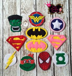 superhero  felt logos for capes and tutu by JeminisCreation, $3.50