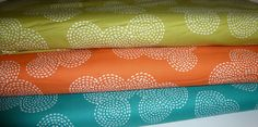 Stitch Circle 1/2 yard Set  in Olive, Orange and Teal  - Michael Miller Fabric  Like these colors together