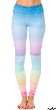 ee1873c43c8c6 Kaywide Contrast Rainbow Print Sport Tights Women Gradient Tie-Die Fitness  Sporting Running Yoga Pants GYM Dancing Legging Capri