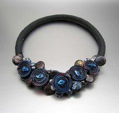 Gray Silk with Multi-Colored Glass Beads