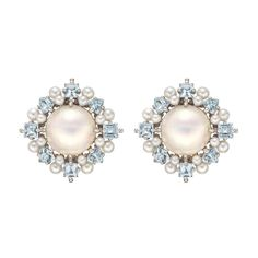 Paul Morelli Pearl & Aquamarine Cluster Earrings | From a unique collection of vintage stud earrings at http://www.1stdibs.com/jewelry/earrings/stud-earrings/