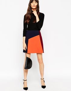 Image 1 of ASOS Colour Block Skirt With Button Wrap