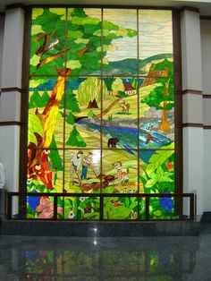 Stained glass.  Jehovah's Witnesses Assembly Hall, Montréal, Québec, Canada