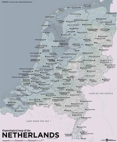 A map of the Netherlands, with cities and provinces translated into English