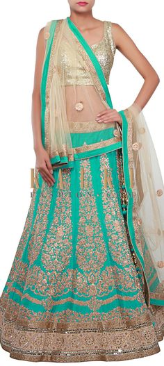 Buy Online from the link below. We ship worldwide (Free Shipping over US$100) http://www.kalkifashion.com/turq-lehenga-adorn-in-zari-and-mirror-embroidery-only-on-kalki.html