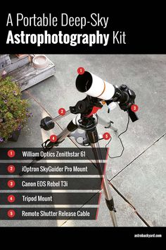 Here is a lightweight, portable deep sky astrophotography kit for those who must travel to dark skies to capture true color images with their DSLR camera. Milky Way Photography, Star Photography, Camera Photography, Night Photography, Photography Tutorials, Photography Settings, Stargazing Telescope, Extreme Glow, Galaxy Images