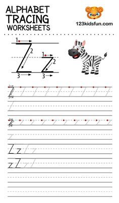 Alphabet Tracing Worksheets A-Z free Printable for Preschooler and Kindergartener. This Alphabet Tracing is a great activity for kids to practice letter recognition and handwriting skills. Printable letter Z tracing worksheet. Free Printable Alphabet Worksheets, Alphabet Tracing Worksheets, Kids Math Worksheets, Tracing Letters, Preschool Letters, Free Preschool, Alphabet For Kids, Alphabet Book, Italian Language