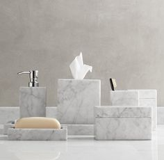Marble accessories - Can't have a marble counter, but that doesn't mean the bath can't have a little marble!