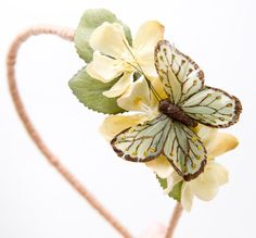 butterfly headband with yellow flowers by BeSomethingNew on Etsy, $19.00