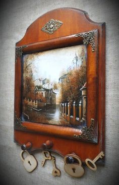 Инна Бекета Home Decor Colors, House Colors, Wooden Key Holder, Decoupage Box, Diy Mirror, Colorful Paintings, Diy Wood Projects, Wood And Metal, Craft Fairs