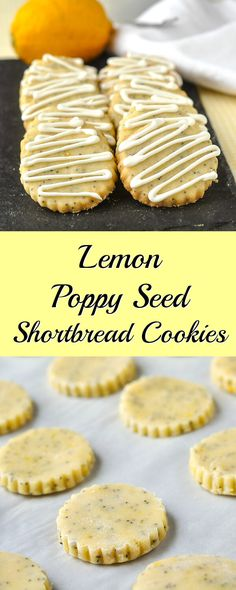 Lemon Poppy Seed Shortbread Cookies - ideal for afternoon tea! Battery sweet shortbread cookies flavoured with lemon zest and with crunchy little poppyseeds baked right in.