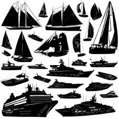 Medios de transporte en el mar.Ilustraciones Vectoriales.