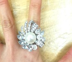 Fashion Jewelry, Trendy Jewelry, Inexpensive Jewelry, Jewelry, Ring, Stretch Ring, Rhinestone Ring, Pearl Ring, Chunky Jewelry