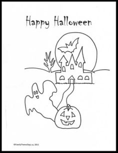 Halloween Fun: Happy Halloween FREE PRINTABLE Halloween coloring page Halloween Activities For Kids, Happy Halloween, Halloween Coloring Pages, Free Printables, Crafts, Inspiration, Biblical Inspiration, Manualidades, Free Printable