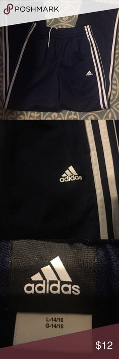Adidas track pants   Sz L 14/16 Adidas track pants   Sz L 14/16   100% polyester. adidas Bottoms Sweatpants & Joggers