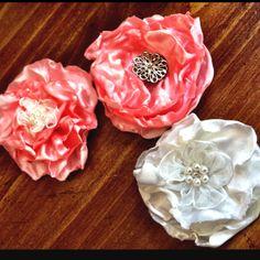 DIY satin flowers hair accessories.  http://memoriesinthemakingnbaking.blogspot.com