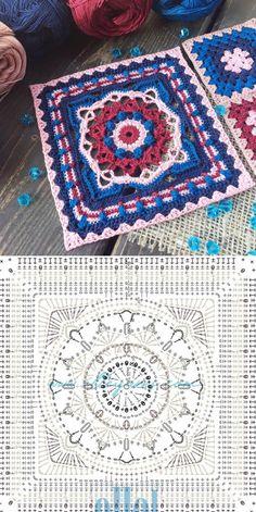 Granny Square Crochet Pattern, Crochet Diagram, Crochet Squares, Crochet Chart, Crochet Granny, Free Mandala Crochet Patterns, Crochet Motifs, Crochet Stitches Patterns, Basic Hand Embroidery Stitches