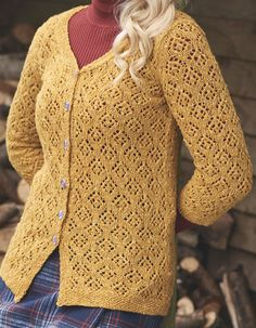 Knitting Pattern for Winter Sun Lace Cardigan - Stunning lace cardigan by Anniken Allis with an all-over pattern in chart and written instructions. One of 34 patterns in Simply Knitting December 2016. Sizes UK 8-26