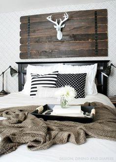 A DIY rustic and cozy stenciled master bedroom using the Fuji Allover Stencil. http://www.cuttingedgestencils.com/stencil-wall-stencils-fuji.html