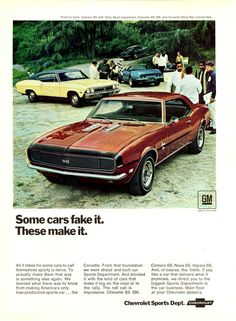 1968 Chevrolet advertisement (Camaro coupe SS / Super Sport; Chevelle coupe SS…