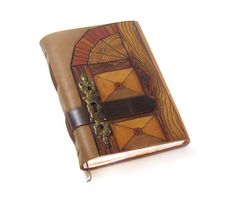 Handmade Leather Journal / Hand Bound Blank Book with Keyhole Cover and Decorative Paper - The Wood Gate.
