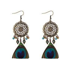 Γυναικεία σκουλαρίκια παγόνι σε vintage - boho στυλ   12,50€ Vintage Bohemian, Boho, Wooden Beads, Women's Earrings, Tassels, Dangles, Detail, Colorful, Ebay