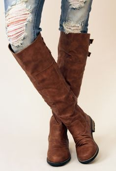 Knee High Boots in Cognac