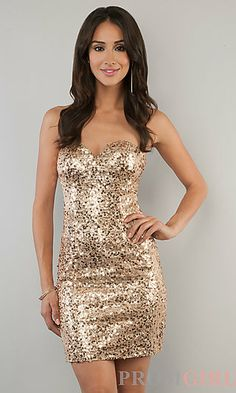 party dress - sometimes you need sparkles. Short Strapless Sequin Sweetheart Dress at PromGirl.com