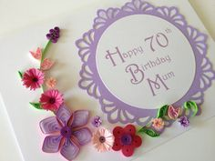 Happy 70th Birthday Card. Handmade paper quilling. Customize with any name or age, by Joscinta, £6.00