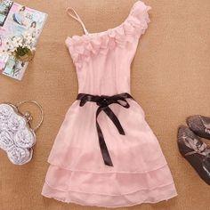 $8.93 Stylish and Delicate Sweety Ruffles One-shouldered Chiffon Dress
