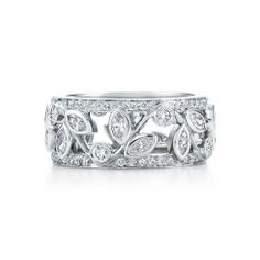 Vine band ring with diamonds in platinum.--WAY too rich for my blood, but this would make a lovely band in gold paired with a solitaire in a halo. Engagement Rings Couple, Diamond Engagement Rings, Bling Bling, Tiffany Rings, Tiffany Jewelry, Wedding Jewelry, Wedding Rings, Right Hand Rings, Anniversary Bands