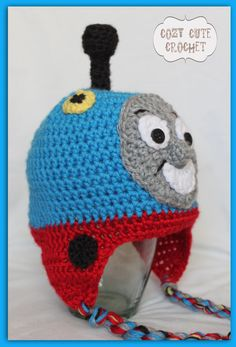 Thomas the Train Hat - Crochet Train Hat - Baby or Toddler Boy Hat - Photo Prop