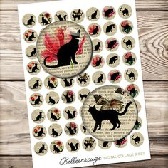 Cat silhouette digital collage sheet, Printable download, circle images, for pendants, old french book, cat, silhouette, flower illustration