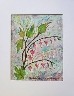 Mixed Media Painting, Mixed Media Collage, Mixed Media Canvas, Painting Abstract, Cute Thank You Cards, Art Mat, Bleeding Hearts, Acrylic Canvas