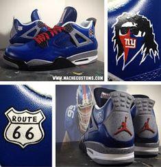 "THE SNEAKER ADDICT: Air Jordan 4 ""NY Giant Cement"" Mache Custom IV Sneaker (Images) Jordans Sneakers, Air Jordans, Jordan 4, New York Giants, Cement, Shoes, Fashion, Moda, Zapatos"
