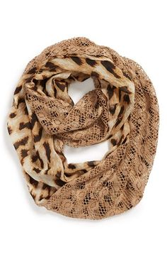 LuLu Leopard Animal Print & Tan Lace Infinity Scarf from Nordstrom circum. Purple Scarves, Fall Scarves, Fur Headband, Snood Scarf, Lightweight Scarf, Circle Scarf, Hot Outfits, Autumn Winter Fashion, Infinity