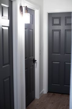 Dark Gray Doors - How to Paint Your Own - All for the Memories can find Memories and more on our website.Dark Gray Doors - How to Paint. Dark Interior Doors, Interior Door Colors, Dark Doors, Painted Interior Doors, Door Paint Colors, Grey Doors, Bedroom Paint Colors, Gray Interior, Interior Trim
