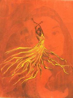 A fan interpretation of Katinss' fiery dress.