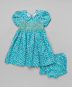 Look what I found on #zulily! sissymini Teal Hearts Dress & Bloomers - Infant & Toddler by sissymini #zulilyfinds