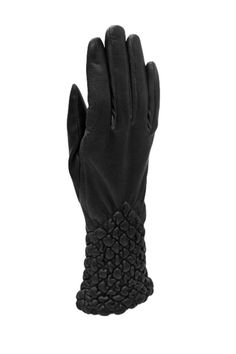 These gloves are made of sheepskin leather and fleece lining. Unique quilted work and elastic wrist for a tight-fitting fit. Gloves need to be snug and fitted in the beginning as they will stretch with wear.    Dimensions: S(6.5), M(7), L(7.5), XL(8)   Quilted Leather Gloves by BAS. Accessories - Winter Accessories New York