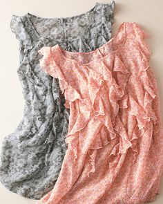 Flutter-Sleeve Silk Blouse in taupe lace print, or pink floral